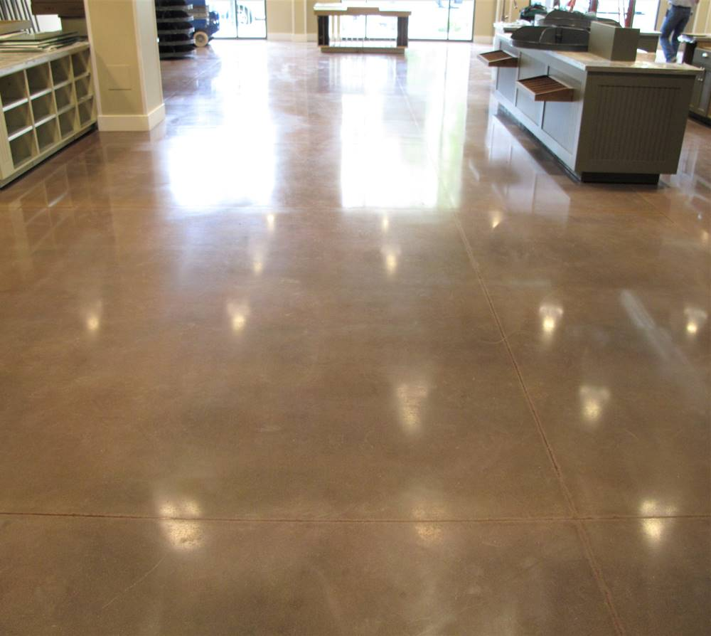 Concrete dyes are another choice when choosing a topical colorant - such as this retail space that was colored with dyes for concrete
