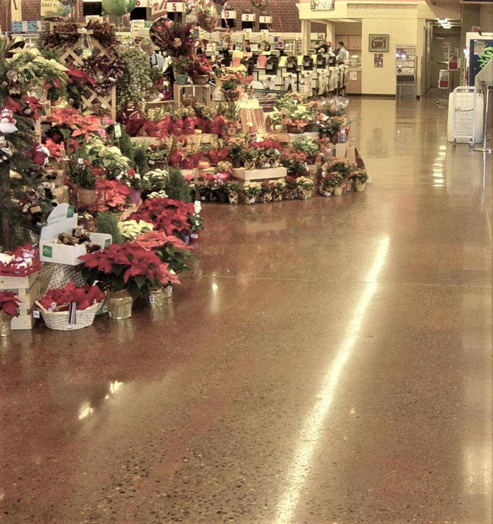 Acid stain concrete in a grocery store.