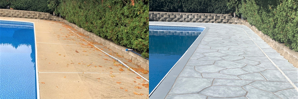 with the concrete design franchise business from RenuKrete, your customers can experience a beautifully transformed pool deck as seen here