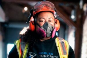 Concrete contractor Kimberley Robles all decked out for Citibank commercial about minority-owned businesses.