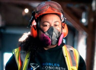 Kim Robles in full safety gear