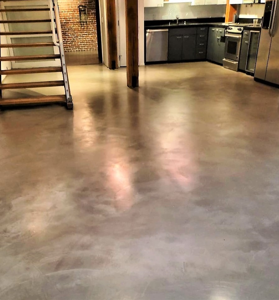 Ardex SD-M on the kitchen floor of a small studio apartment