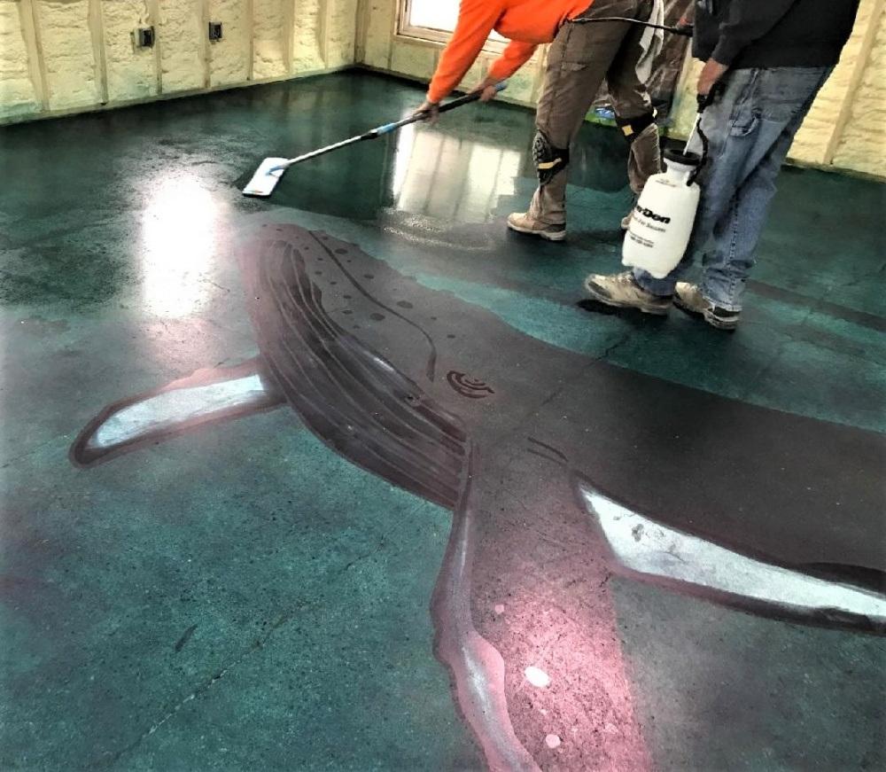 An application of custom-made stencils in the shapes of a humpback whale on concrete
