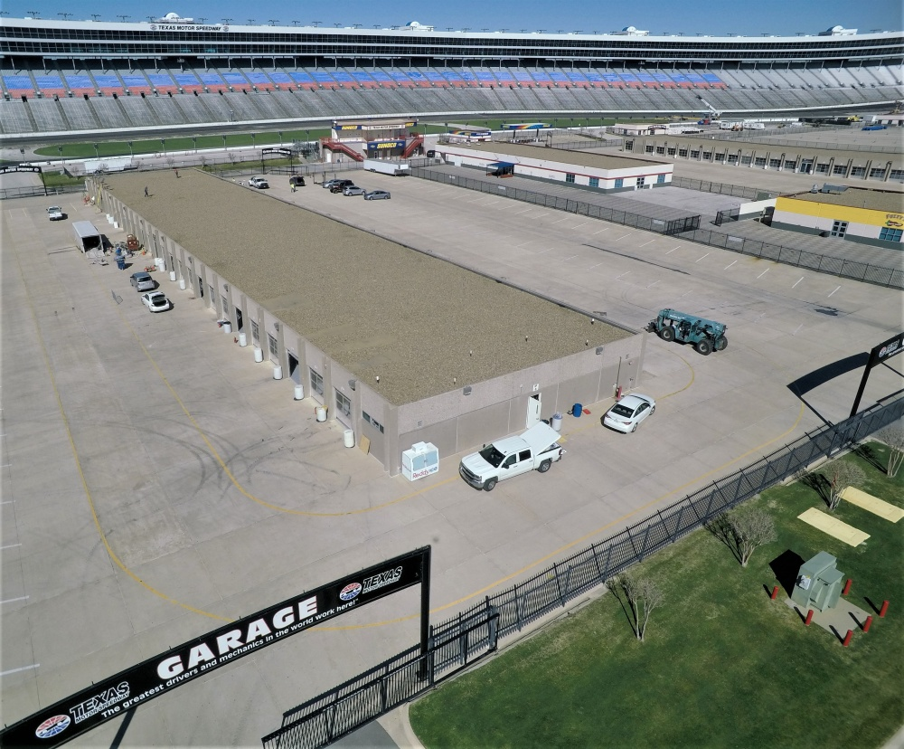 An aerial view of the garages at the Texas Motor Speedway