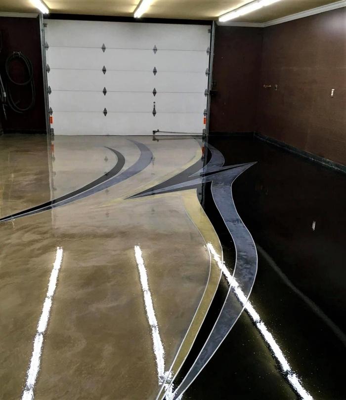 metallic epoxy dust was in a custom garage floor