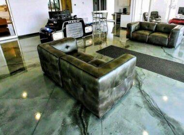metallic epoxy dust in a lobby