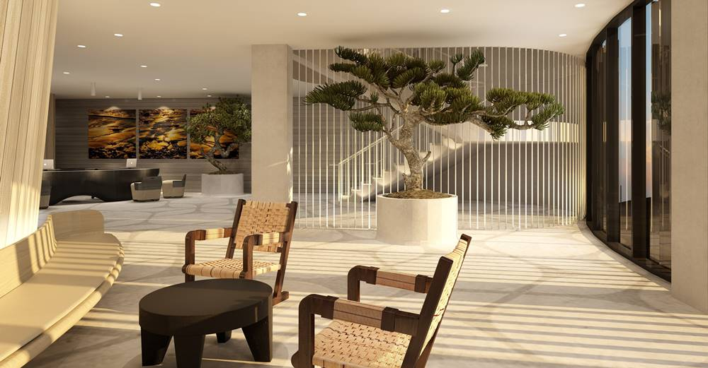 The stunning stenciled concrete lobby at the Alila Marea resort in San Diego