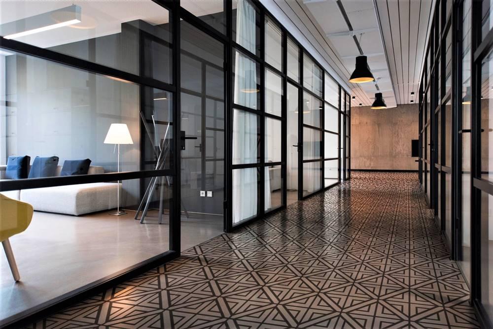 stenciled concrete hallway using floormaps adhesive stencils.