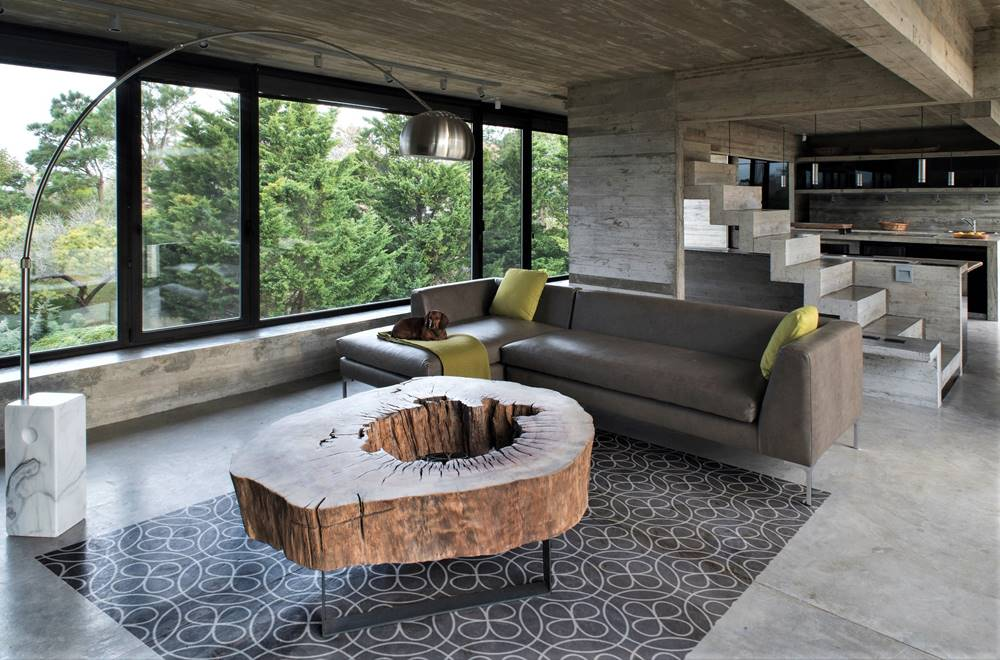 Geometic Modern Tile patter on a concrete floor