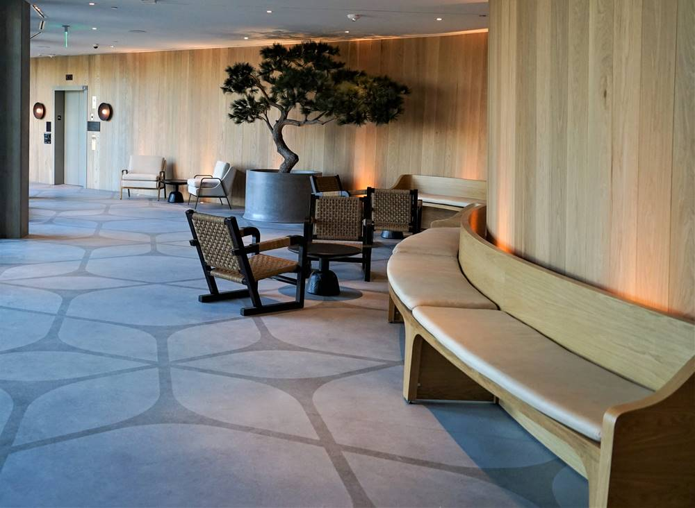 the waiting area of the stenciled concrete lobby at the San Diego luxury resort