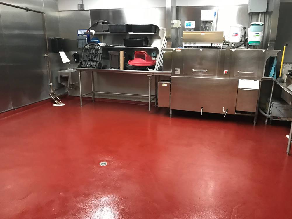 a red commercial kitchen floor in the Mission Inn Hotel & Spa