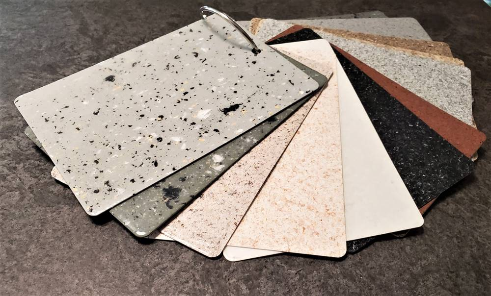 Plextone Liquid Chips are a new way to impart color onto concrete floors