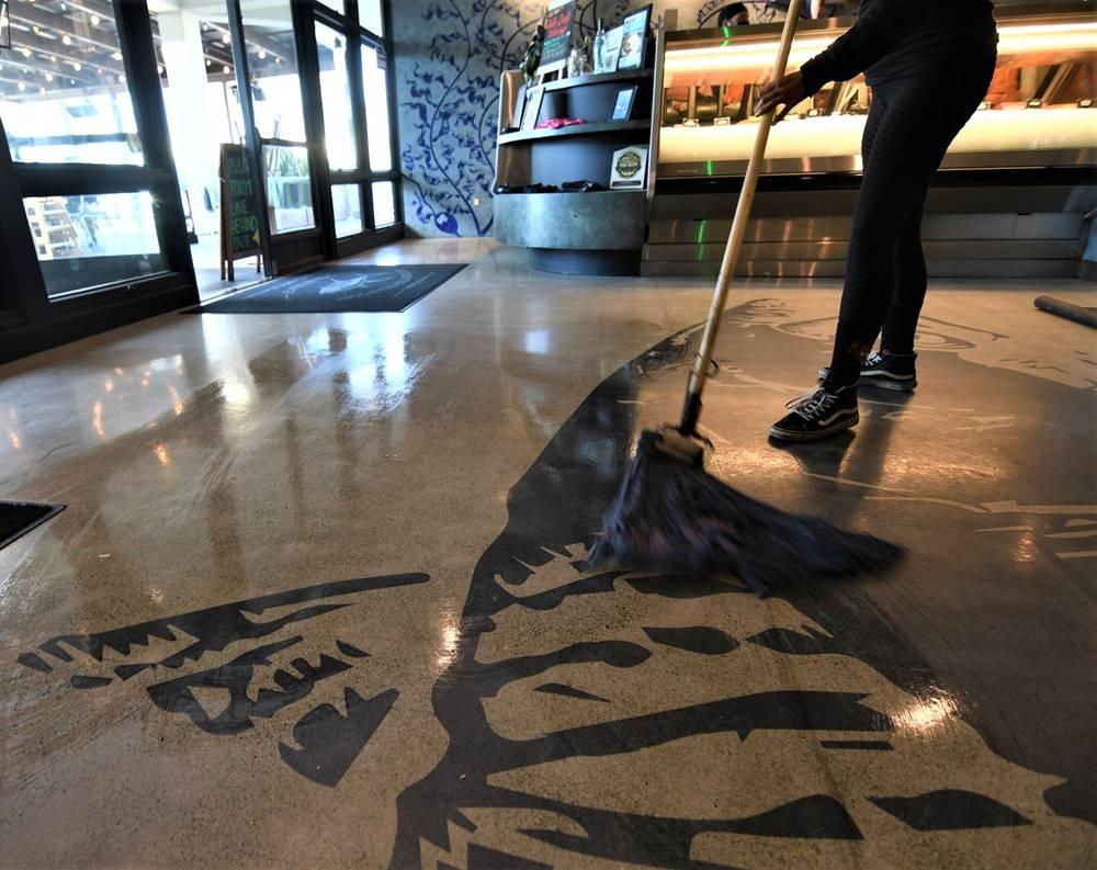 mopping westcoat's grind & seal floor to keep it clean