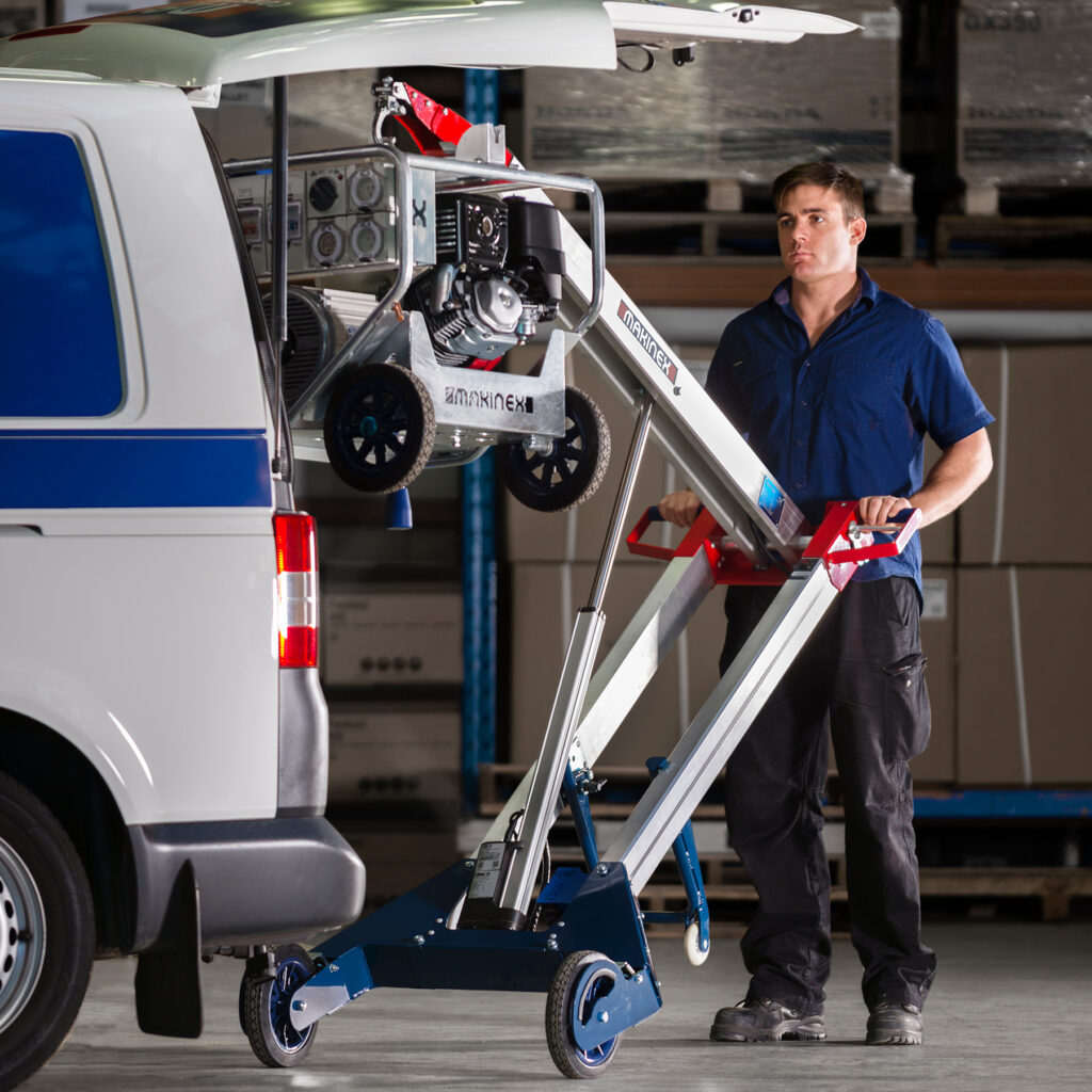A hand truck that can turn a two man job into a one man job using physics and machinery.