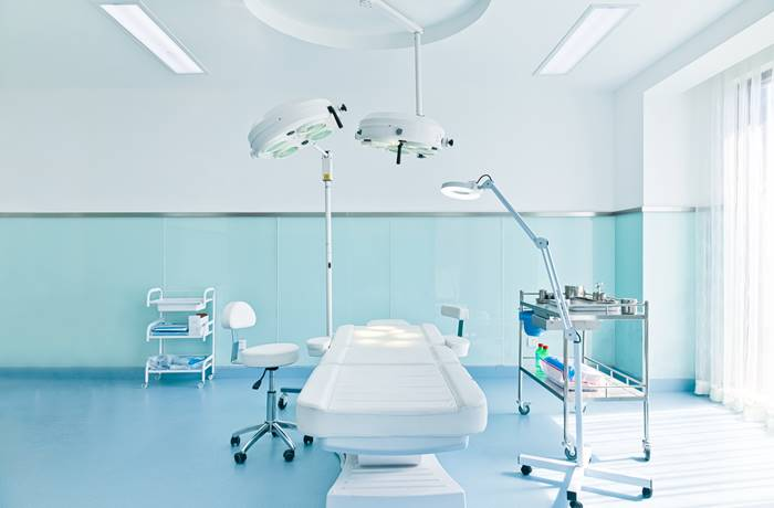 An operating room that was coated with low-VOC, low odor polyaspartic polyurea with technology to keep bacteria at bay.