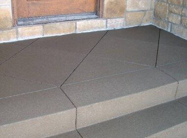 Sand Finished Gray Concrete Porch