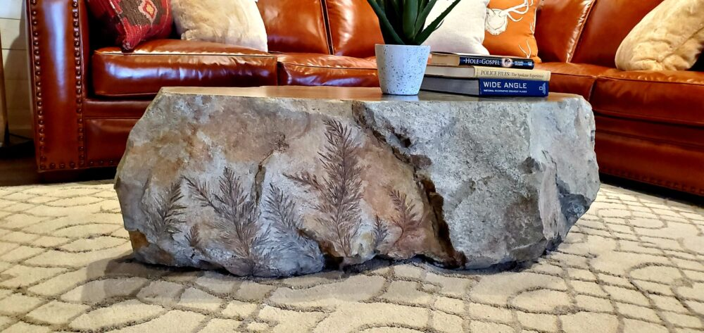 Rock-like coffee table with ferns engraved in the side.