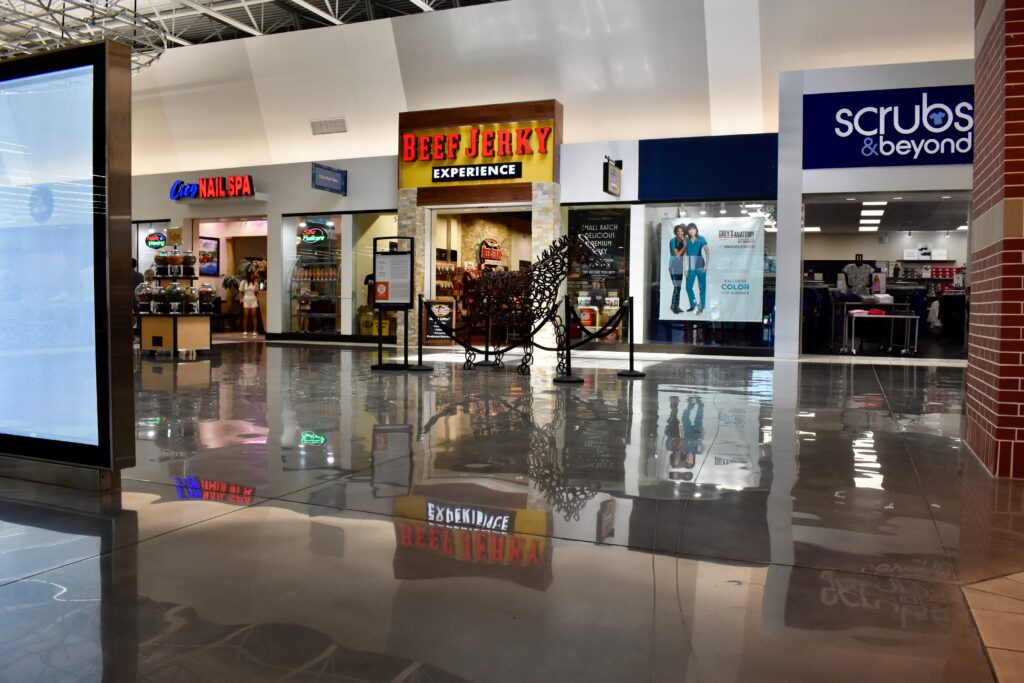polished concrete in a mall helps with concrete sustainability