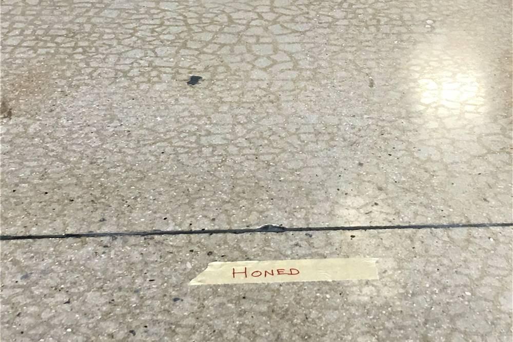 craze cracks on a polished concrete floor