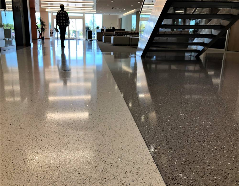 A long-lasting and durable urethane coating was applied to the terrazzo floor to take the place of waxing maintenance