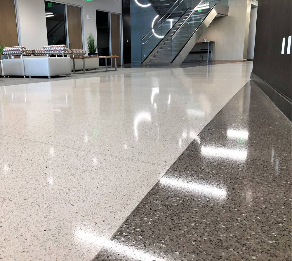 a look at a terrazzo floor with gloss sheen