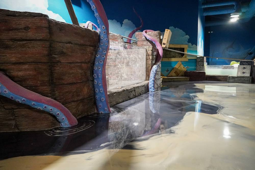 Inside Seaquest Park with large octopus tentacles made of concrete