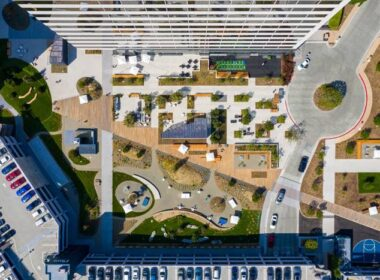 An aerial view of a large decorative concrete project