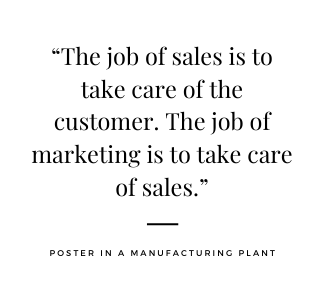 an inspirational quite about the job of sales and marketing