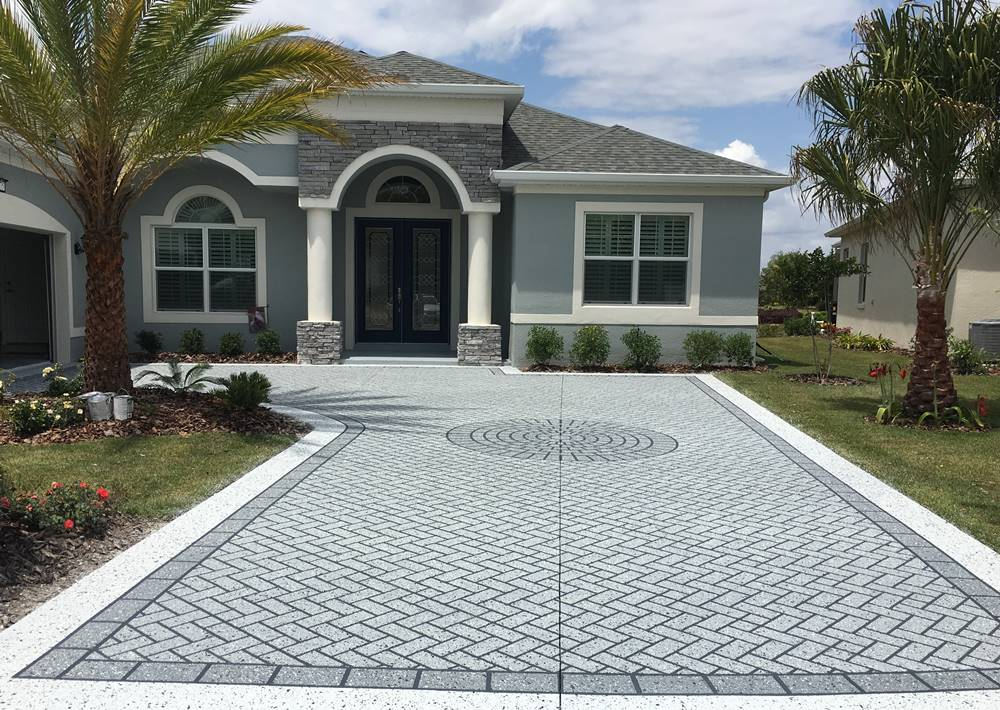 using a concrete stencil driveways like this one in Florida is a cost effective way to bring in business.