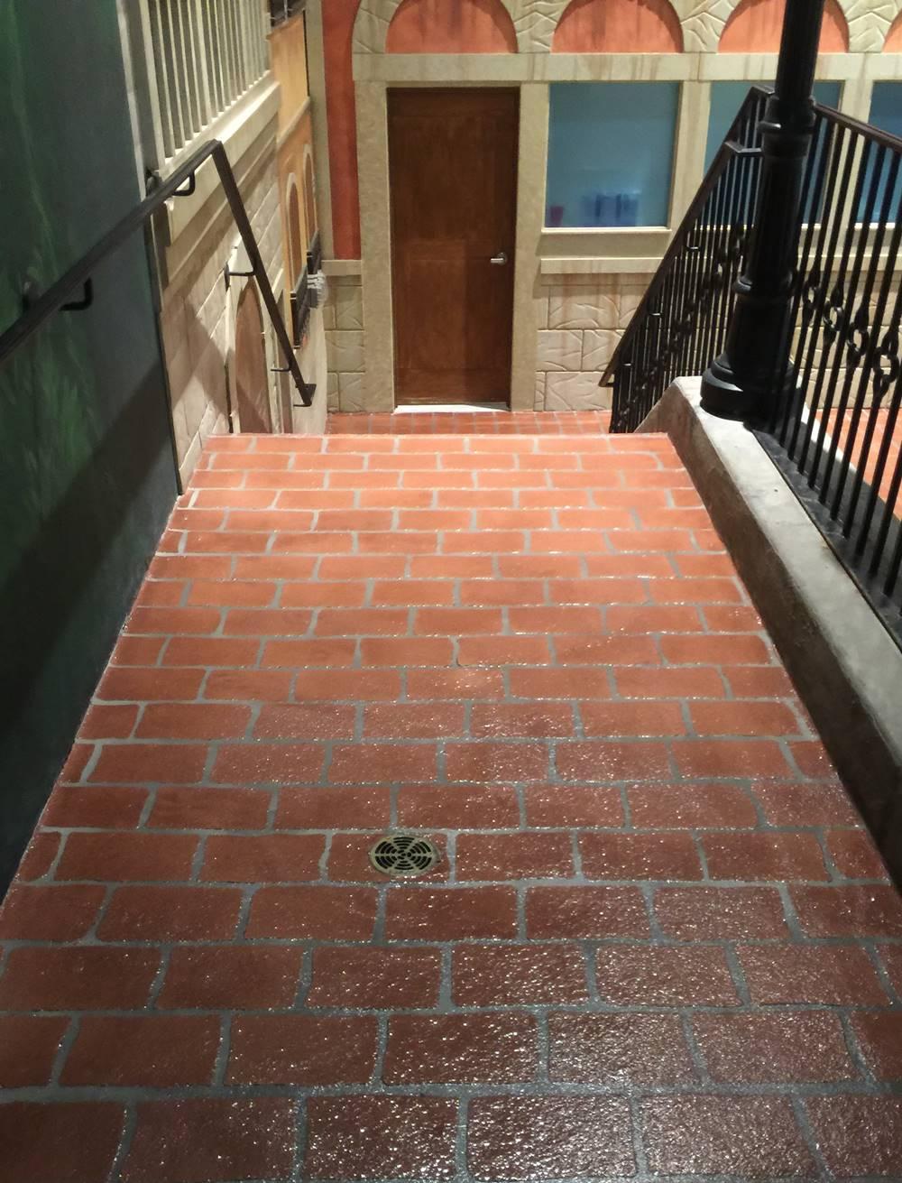 cobblestone stencils placed on a stairway
