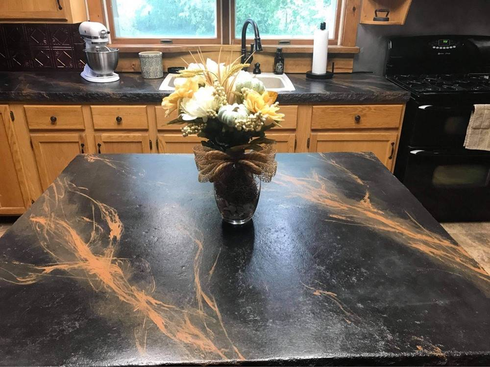 concrete countertops with a granite veining aesthetic