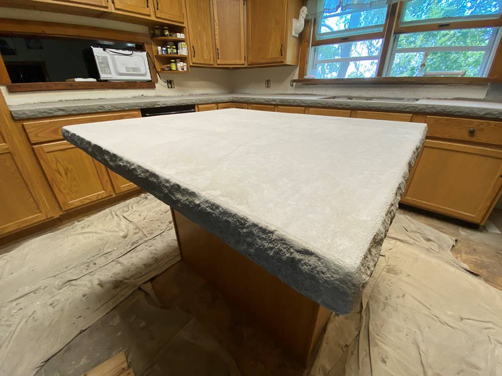 unfinished kitchen concrete countertops