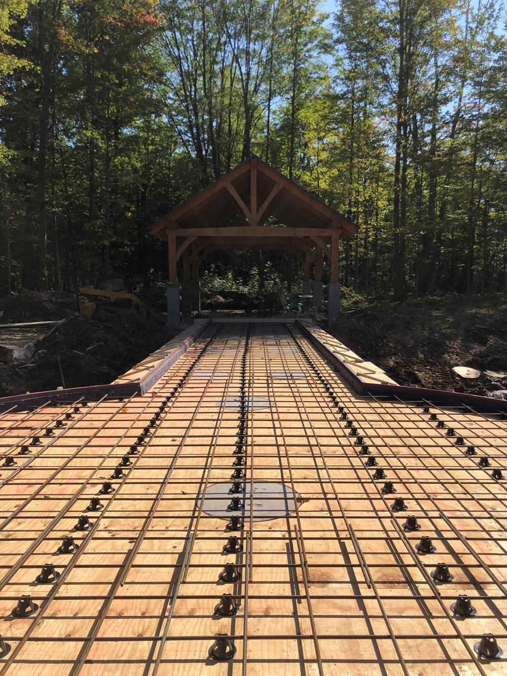 A rebar grid that was the footings for the custom stamped concrete dock