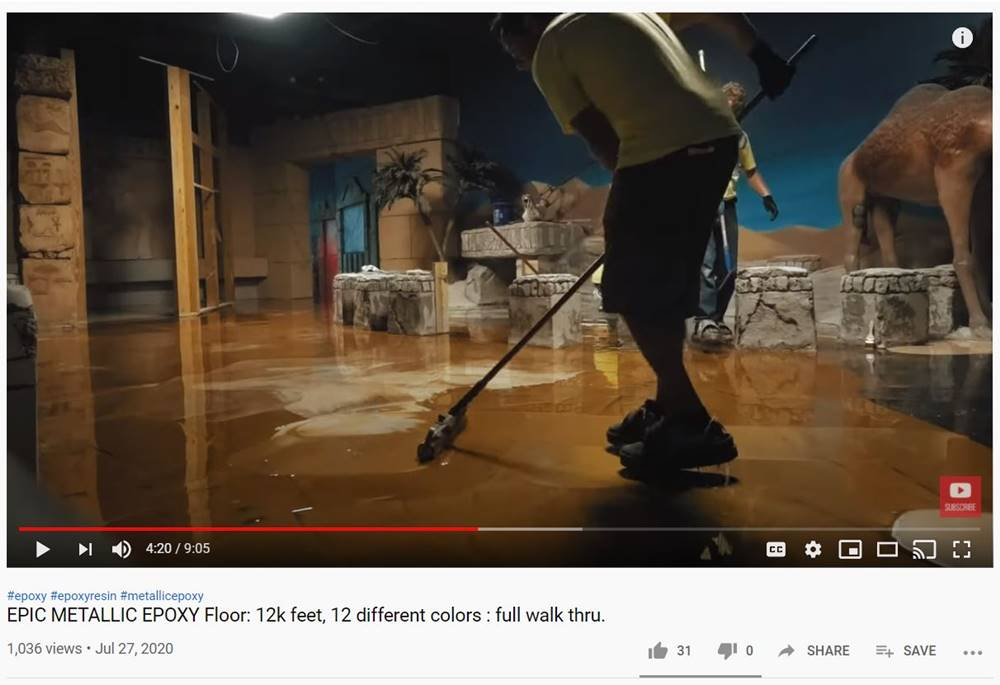 A screenshot of a video on YouTube about installing decorative concrete coatings.