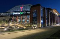 The front of the Texas Rangers Global Life Field in Arlington, Texas