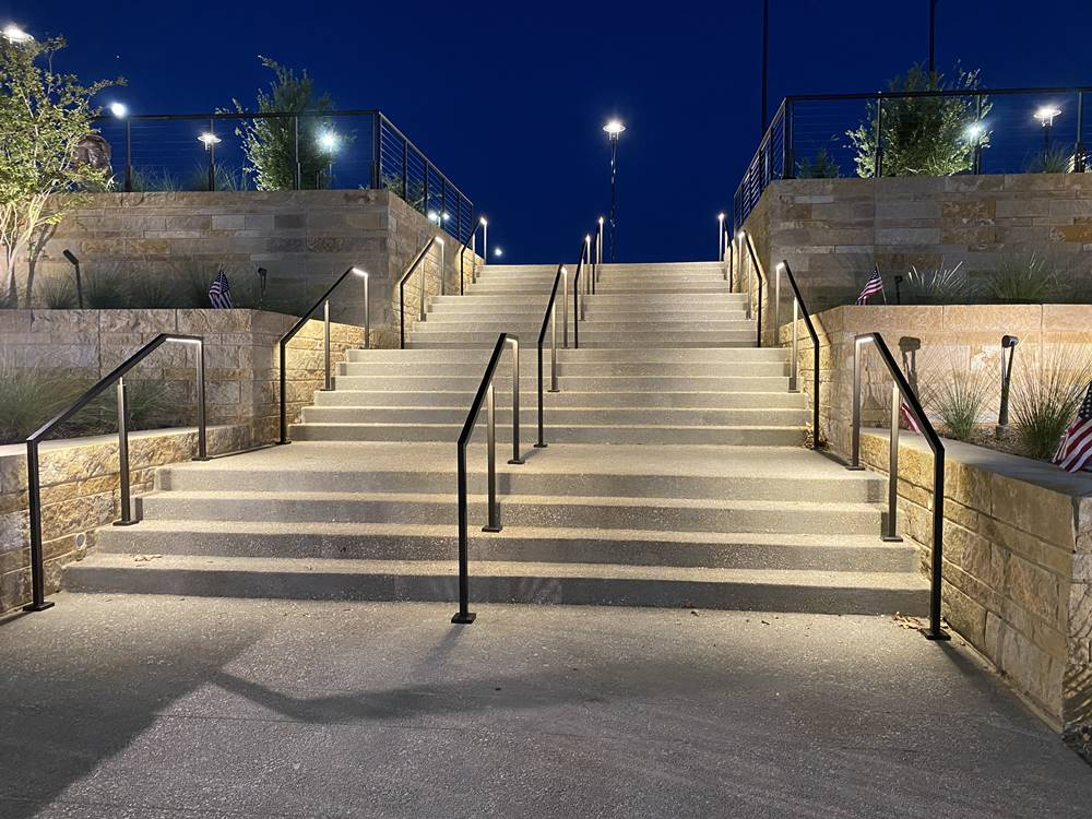 Concrete steps with color-matching at the Texas Rangers stadium