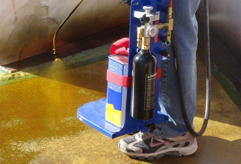 applying dye on concrete and determining coverage rates