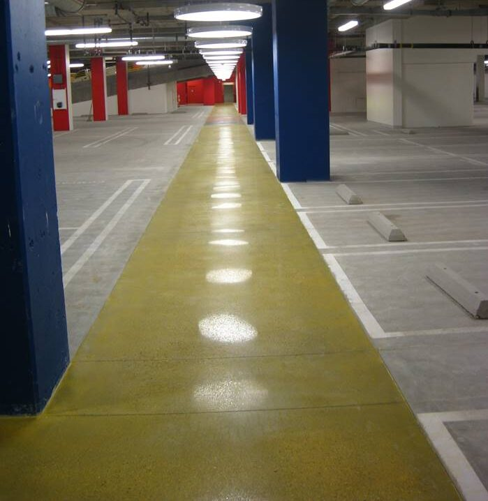 One of the types of joints in concrete - control joints in a parking garage