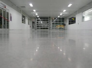 A polished concrete garage