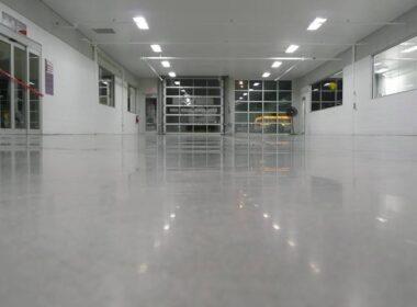 A polished concrete garage