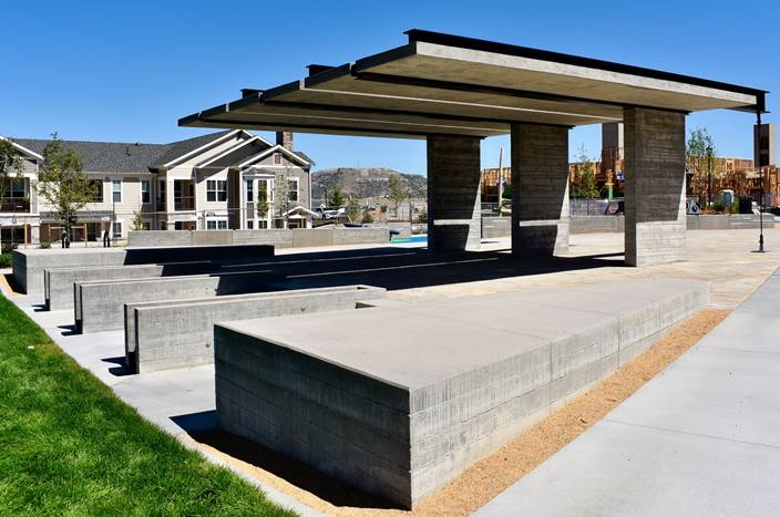 Vertical concrete elements give a decorative feel in a new park in Castle Rock, Colorado
