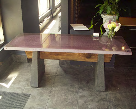 This concrete tabletop was completed by Patina Concrete workers using a DS301 planetary polisher, a Chicago four-inch electric angle grinder and a four-inch variable speed wet/dry polisher by Metabo, as well as diamond hand-polishing pads.