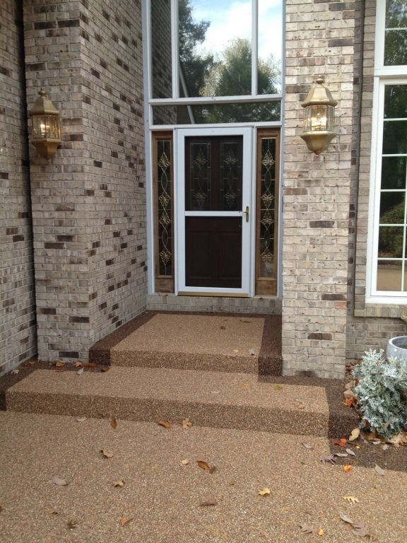 Front porch steps have been given a makeover with Epoxy Stone