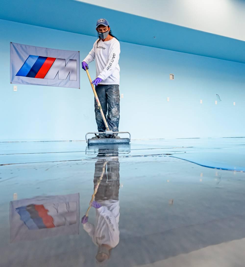 Jon Kopp installing metallic epoxy - always consider labor when pricing of metallic epoxy