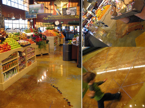 Stained concrete floor in the produce department of this grocery store.