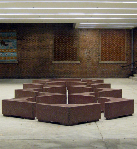 A different angle of view of the concrete benches that create circles and squares.