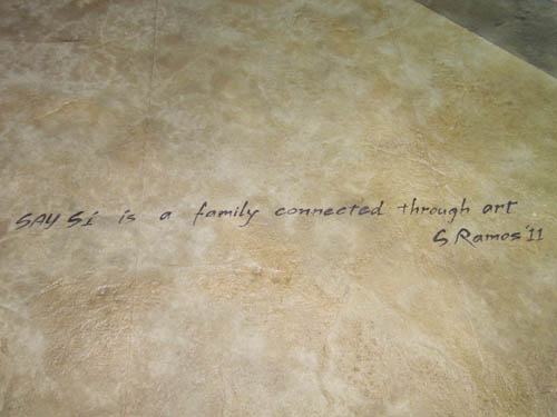 A closer look at the inspiring quotes embedded into the concrete.