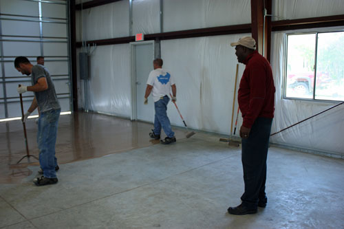 Contractors donated time and labor to re coat the concrete floor.