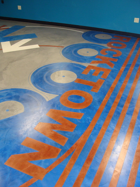 Music room in Rocketown in Nashville was transformed with a custom stencil and colored with the corporate colors.