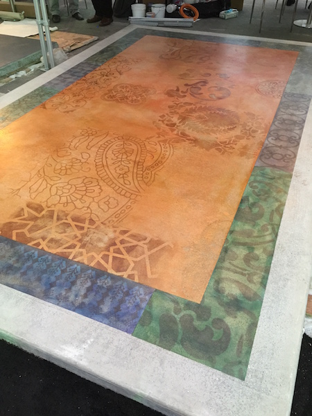 A concrete area rug stained and stenciled using Modello Design stencils.